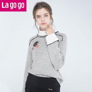 Lagogo/拉谷谷2017冬季新款直筒长袖翻领针织衫