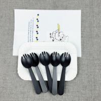 餐具套装一次性刀叉碟生日刀叉盘组合100套圆形盘