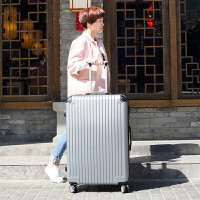 大容量行李箱女30英寸拉杆箱百搭时尚密码箱特大号出国旅行箱万向轮休闲户外登机箱 银色 银灰色