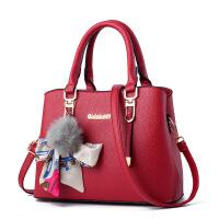 手提包女韩版新款潮个性时尚中年妈妈中老年女包单肩斜挎大包 酒红色 艾莱依女包