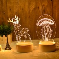 3d立体小夜灯少女比心插电创意卡通led卧室台灯麋鹿创意生日礼物圣诞礼物