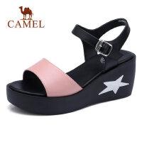 camel 骆驼平底凉鞋女式时尚松糕鞋夏季新款厚底坡跟高跟鞋原宿百搭