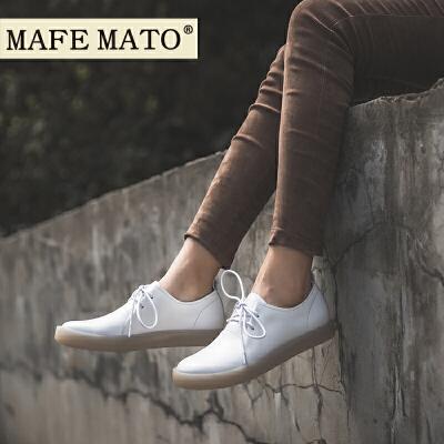 玛菲玛图街拍小白鞋bf风女鞋系带牛津鞋子新款 季平底单鞋真皮鞋设计师女鞋3782-19B尾品汇 新品预售 付款后7天内发货