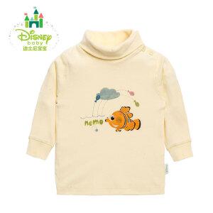 【3件4折】迪士尼Disney 男女宝宝春秋素色高领肩开扣上衣153S678