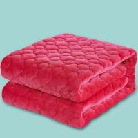 ???法兰绒毯子珊瑚绒床单单件毛毯法莱绒双层夹棉加厚冬季双人单人薄 玫红色 夹棉