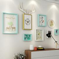 北欧客厅照片墙装饰 简约实木相框墙创意挂墙组合相片墙 天蓝色 清新卡通