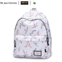 mrace2019韩版时尚高中学生书包简约双肩包女大容量14寸电脑背包