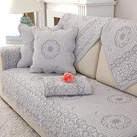 沙发垫套棉四季布艺简约冬季坐垫现代通用沙发套靠背防滑沙发巾罩 灰