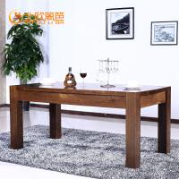 北欧篱笆北美黑胡实木餐桌全实木餐桌小户型一桌六椅简约现代家具