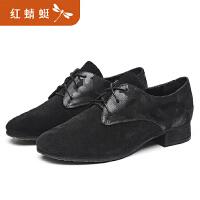 红蜻蜓女鞋春季新款真皮圆头系带深口单鞋女职业低跟鞋女