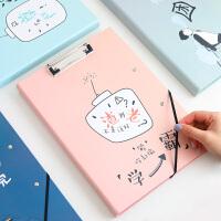 A4学渣双板三夹文件夹板学生用韩版资料夹写字考试垫板演讲稿文件记事挂件垫夹