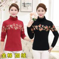 中年女装新款针织大码高领妈妈装秋冬打底衫全棉加绒长袖T恤上衣