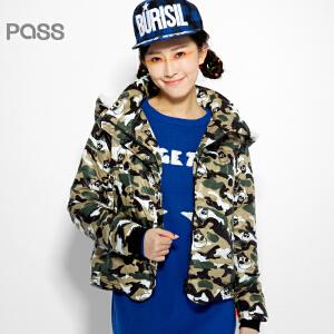 PASS原创潮牌冬装 温暖可拆羊羔绒帽学生潮牌迷彩短款棉服女6540942024