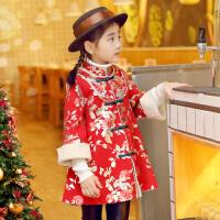 女宝宝唐装冬女童汉服儿童中国风婴儿小女孩古装新年旗袍过年衣服 金色小花皮绒大衣【预售】