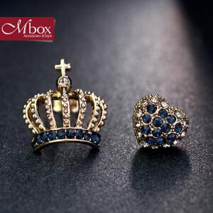 新年礼物Mbox耳钉 气质女韩国版采用波西米亚风不对称皇冠耳钉耳环 女王心