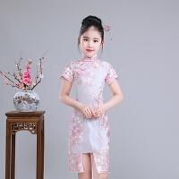 儿童旗袍夏季透气中国风蕾丝奥黛女童唐装公主裙中大童乐器演出服