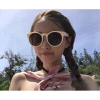 网红林小宅同款女白色复古显脸小框墨镜圆形韩版潮男圆脸太阳眼镜