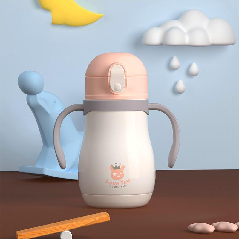 儿童保温带吸管两用鸭嘴学饮杯宝宝水壶婴儿不锈钢水杯