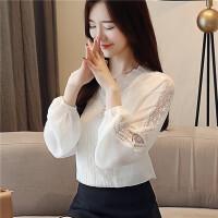 雪纺衫秋装女装2018新款潮秋季长袖上衣服女韩版百搭蕾丝打底小衫