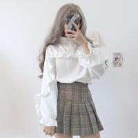 白甜美荷叶边衬衫女秋冬新款韩版学院风百搭宽松长袖打底衫衬衣