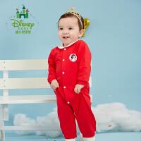 【129元3件】迪士尼Disney 童装婴儿衣服棉新生儿女宝宝连体衣秋季外出爬服173L725