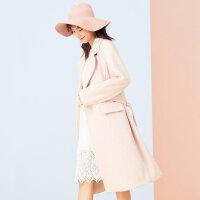 美特斯邦威大衣女士冬装新款韩版系带学院风时尚长款大衣商场款
