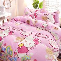 卡通珊瑚绒四件套加厚冬季保暖双面法莱绒法兰绒kt凯蒂猫床单被套
