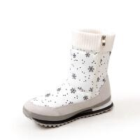 2018秋冬季透气防水中筒加厚绒保暖厚底雪地靴女靴棉鞋真皮 白色 偏小一码