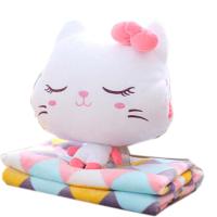 猫咪枕头暖手抱枕插手两用珊瑚绒腰靠枕靠垫空调被毯子三合一 暖手抱枕30*35( 毯子1*1.7米)