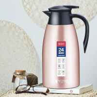 不锈钢保温壶 家用暖水壶大容量保暖壶2000ml 欧式热水瓶保温杯2La227 香槟色2L