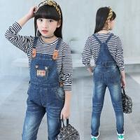 女童背带裤套装春装新款韩版中大童儿童条纹牛仔背带裤两件套