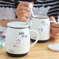 精东家品陶瓷水杯子可爱猫咪带盖勺马克杯男女学生早餐牛奶麦片杯