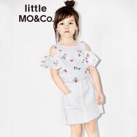 【折后价:83.6】littlemoco女童荷叶边露肩彩色小花朵印花上衣KA172TOP109 moco