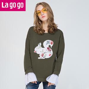 【秒杀价107】Lagogo/拉谷谷2019年秋新圆领贴布绣时尚袖口拼接卫衣