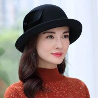 帽子女秋冬季新款韩版时尚卷边花朵礼帽女士英伦可调节羊毛呢帽 可调节