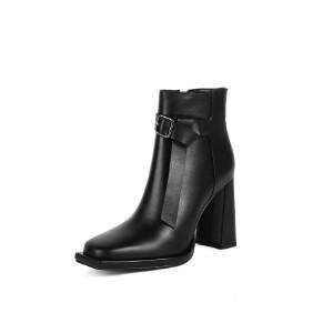 WARORWAR法国新品YG11-8253冬季欧美反绒粗跟鞋高跟鞋女鞋潮流时尚潮鞋百搭潮牌靴子切尔西靴短靴