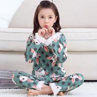 儿童睡衣长袖春秋季女孩大童女童家居服套装夏季薄款亲子母女