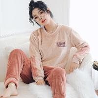 睡衣女秋冬珊瑚绒保暖运动条纹甜美可爱冬天法兰绒家居服套装
