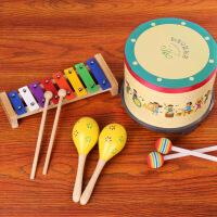?奥尔夫乐器鼓儿童敲鼓打鼓玩具手拍鼓军鼓手鼓打击乐器婴儿宝宝鼓 3件套组合