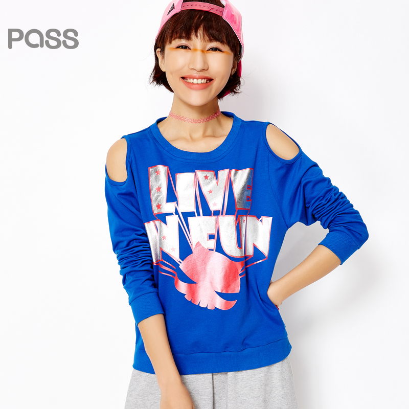 【不退不换】PASS女装春装新款 潮牌时尚镂空肩长袖宽松套头卫衣女6610521030