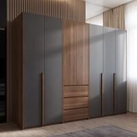 【限时7折】北欧衣柜实木质现代简约柜子卧室经济型三四五门组装小户型大衣橱