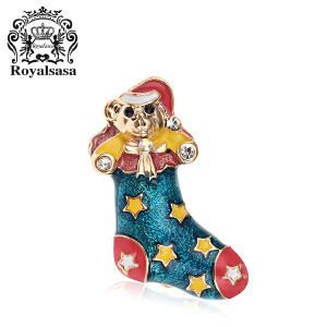 皇家莎莎圣诞靴胸针 女韩版气质镶钻彩色胸花衬衣领针送节日礼物