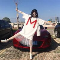 夏季女装韩版中长款恤+蕾丝裙两件套少女短袖连衣裙小清新裙子潮