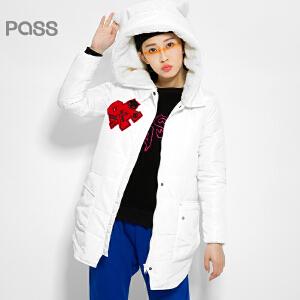 【不退不换】PASS原创潮牌冬装 加绒大帽子毛巾绣加厚连帽中长款白棉衣女6540822039