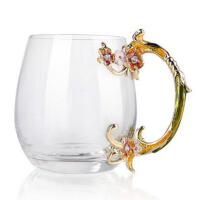 创意珐琅彩玻璃水杯情侣杯花茶杯果汁杯定制生日礼物 情人节礼品