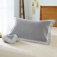 全棉毛圈枕巾两条装 情侣单人全棉枕巾 一对装枕巾 欧式花-灰色
