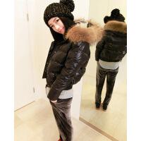 №【2019新款】冬天美女穿的新款�B帽羽�q服女超大真毛�I短款加厚修身外套小款�A克衫