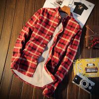 秋冬季加绒衬衫男士加厚保暖长袖格子衬衣学生韩版寸衫冬季外套潮