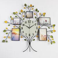 创意相框个性时钟静音大号装饰石英钟表挂钟客厅现代简约挂表 20英寸
