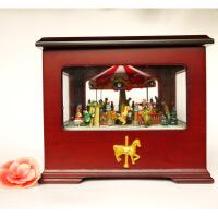 ?木质旋转木马音乐盒八音盒创意照片儿童女生生日礼品刻字礼物欧式
